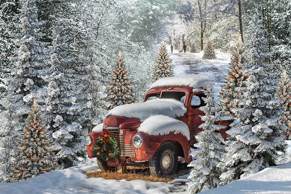 Dog Walker Photograph - Christmas Truck In The Snow by Debra and Dave Vanderlaan