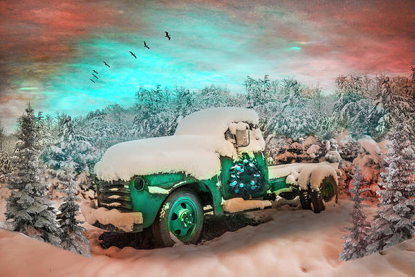 Wall Art - Photograph - Christmas Turquoise Chevy Pickup Truck In The Snow by Debra and Dave Vanderlaan