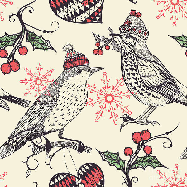 Celebration Digital Art - Christmas Vector Seamless Pattern With by Anna Paff