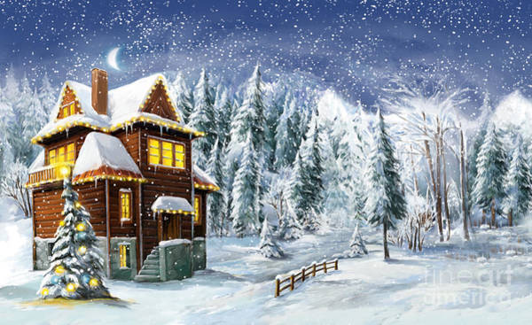 Wall Art - Digital Art - Christmas Winter Happy Scene - by Aga Es