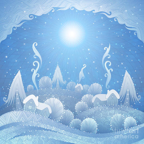 Wall Art - Digital Art - Christmas Winter Landscape With Snow by Natalia Sedyakina