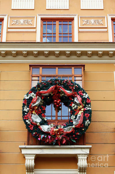 Photograph - Christmas Wreath On Historic Building by James Brunker