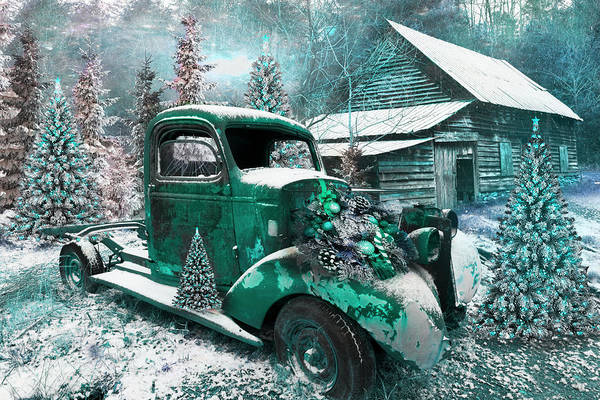 Photograph - Christmastime At A Country Farm In Turquoise Tones  by Debra and Dave Vanderlaan