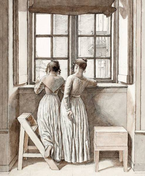 Wall Art - Painting - Christoffer Wilhelm Eckersberg   1783-1853  By A Window by Celestial Images