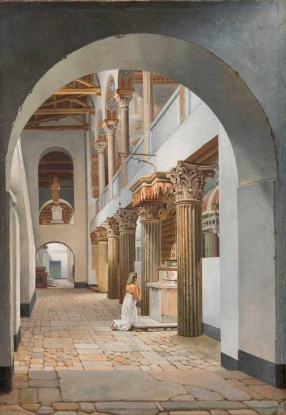 Wall Art - Painting - Christoffer Wilhelm Eckersberg - View Of The Church Of San Lorenzo Fuori Le Mura by Celestial Images
