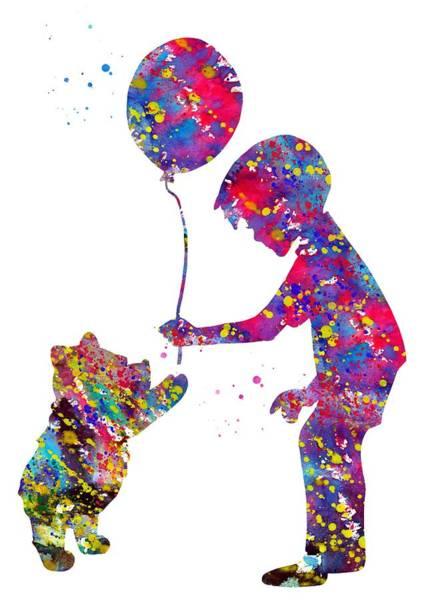 Wall Art - Digital Art - Christopher Robbin And Winnie The Pooh by Erzebet S