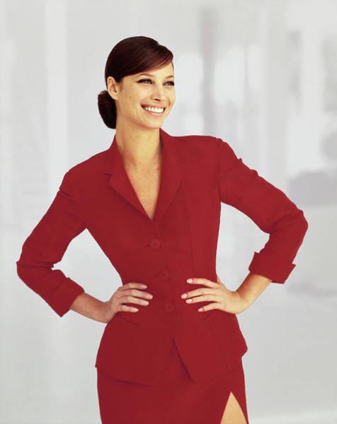 Christy Photograph - Christy Turlington Wearing A Red Blazer by Arthur Elgort