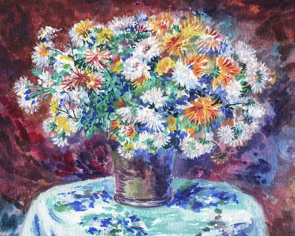 Painting - Chrysanthemum Flowers Bouquet Renoir Style Study by Irina Sztukowski