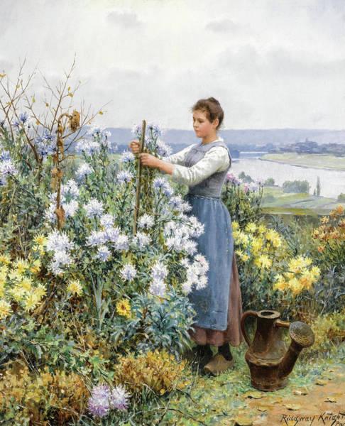 Knight Painting - Chrysanthemums, 19th Century by Daniel Ridgway Knight