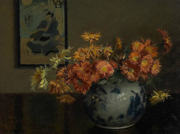 Painting - Chrysanthemums, A Japanese Arrangement by Mary Hiester Reid