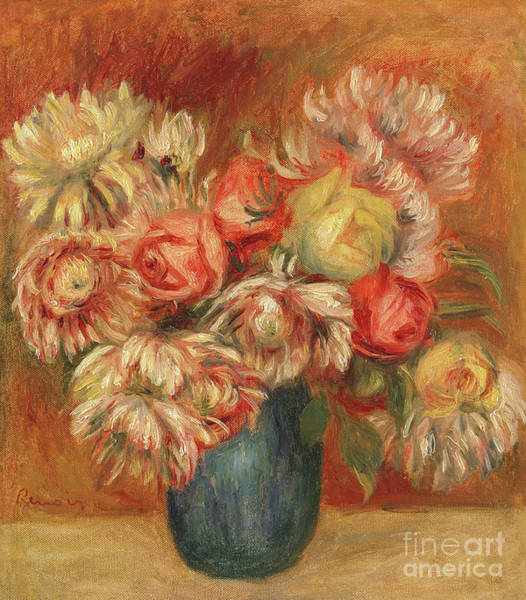 Wall Art - Painting - Chrysanthemums In A Green Vase by Pierre Auguste Renoir