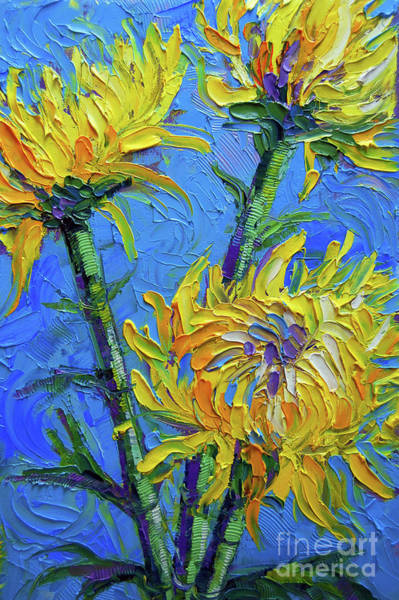 Wall Art - Painting - Chrysanthemums On Blue Palette Knife Impasto Oil Painting Mona Edulesco by Mona Edulesco
