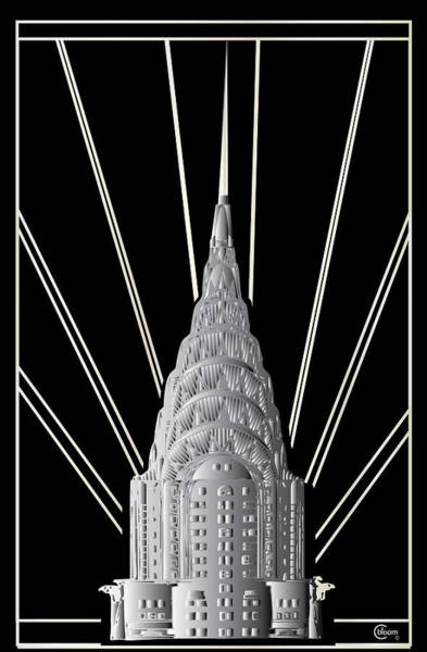 Drawing - Chrysler Building Art Deco Silver Crown by Cecely Bloom