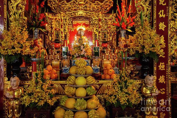 Wall Art - Photograph - Chua Dien Huu Pagoda Interior Two by Bob Phillips