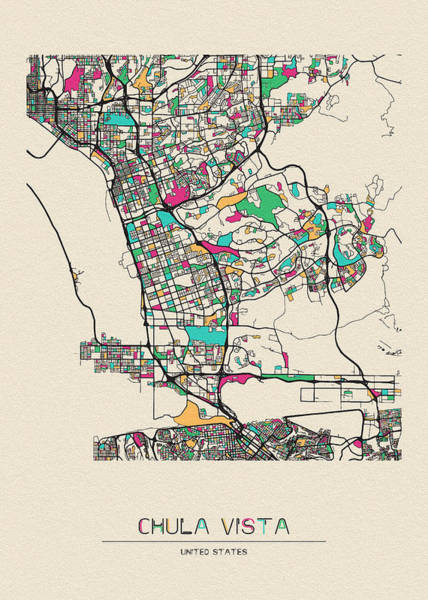 Wall Art - Drawing - Chula Vista, California City Map by Inspirowl Design