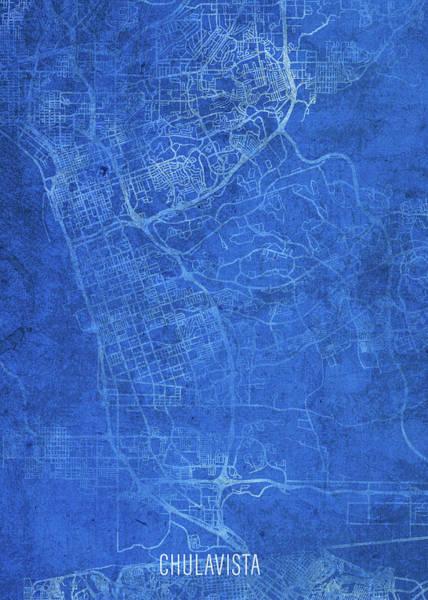 Wall Art - Mixed Media - Chula Vista California City Street Map Blueprints by Design Turnpike