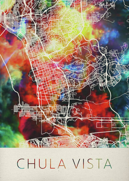 Wall Art - Mixed Media - Chula Vista California Watercolor City Street Map by Design Turnpike