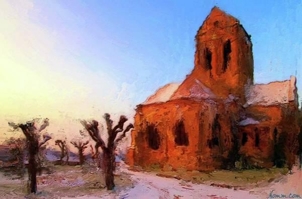 Digital Art - Church At Auvers-sur-oise by Rein Nomm
