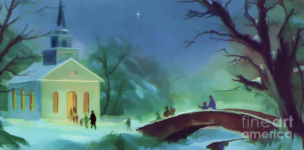 Digital Art - Church At Christmas by D Hackett