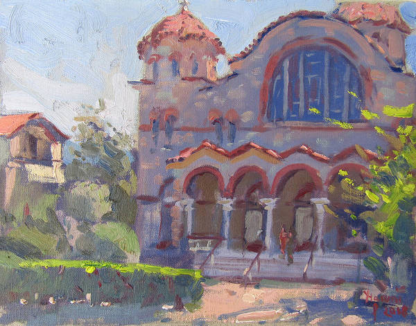 Church Painting - Church At Nea Erythraia Athens by Ylli Haruni