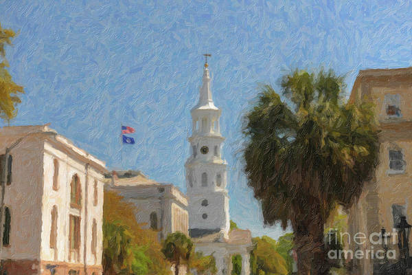 Painting - Church Bells Ringing In Downtown Charleston by Dale Powell