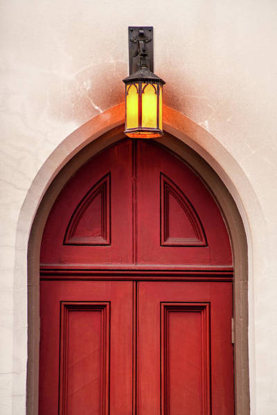 Photograph - Church Door And Lamp by Don Johnson