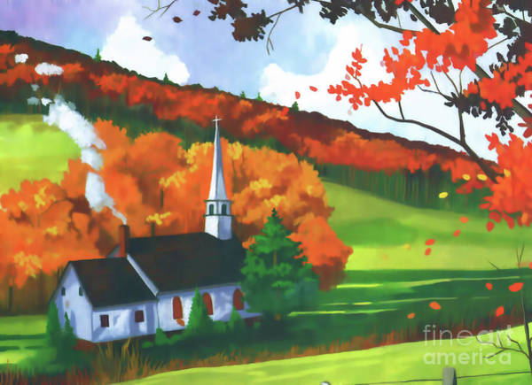 Digital Art - Church In Autumn by D Hackett