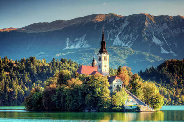 Maria Island Wall Art - Photograph - Church Of Assumption On Lake Bled by Michele Falzone