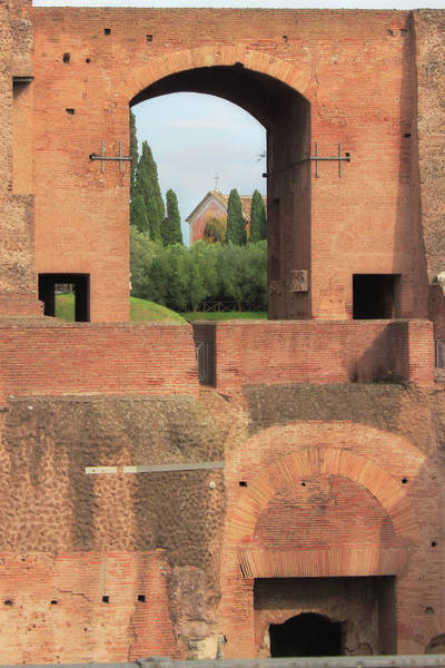 Photograph - Church Of San Bonaventura Palatino Viewed Through Archway Of Domitians Palace In Rome Italy by Angela Rath