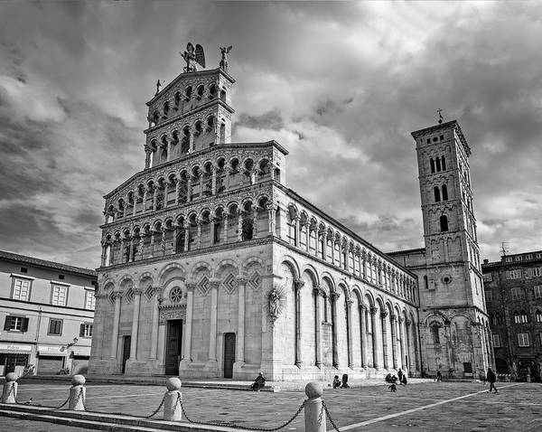 Photograph - Church Of San Michele In Foro Lucca Italy Bw by Joan Carroll