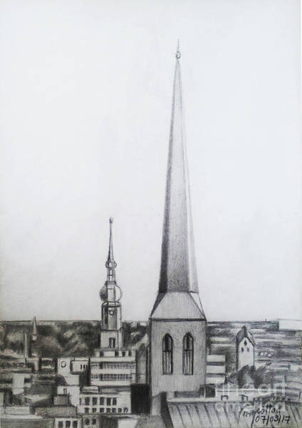 Wall Art - Drawing - Church Of St. Peter-dortmund by Mohammad Hayssam Kattaa