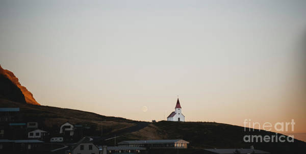 Church On Top Of A Hill And Under A Mountain, With The Moon In The Background. Art Print