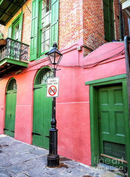Photograph - Church Quiet Zone At Pirate Alley In New Orleans by John Rizzuto