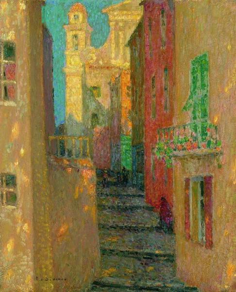 Wall Art - Painting - Church Street, Villefranche-sur-mer Henri Le Sidaner by Celestial Images