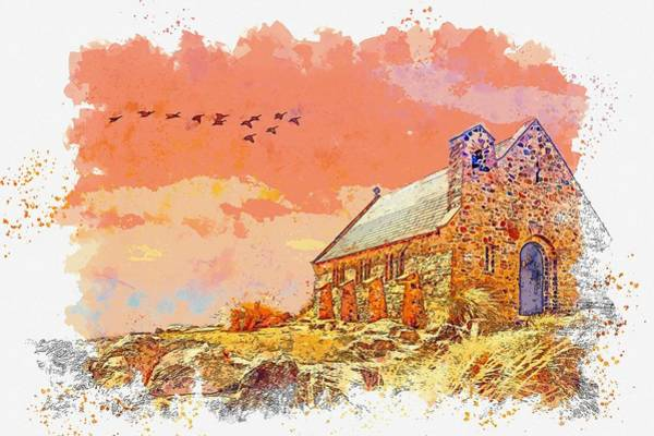 Wall Art - Painting - Church Sunset Sky Clouds Landscape Architecture -  Watercolor By Adam Asar by Adam Asar