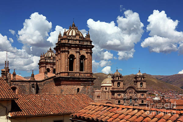 Photograph - Church Towers And Tiled Roof Cusco Peru by James Brunker