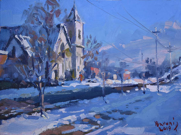 Tonawanda Wall Art - Painting - Churche At Main Str N Tonawanda by Ylli Haruni