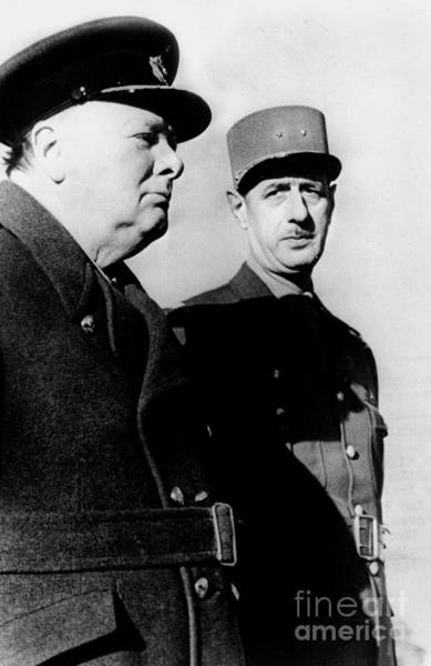 Wall Art - Photograph - Churchill And Leader Of French Resistance And Free France General De Gaulle by Unknown