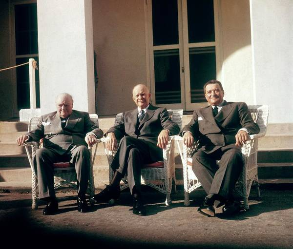 Bermuda Photograph - Churchill, Eisenhower And Laniel At The by Keystone-france