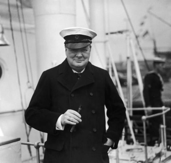 Boat Deck Photograph - Churchill On Ship by Topical Press Agency