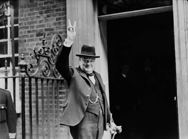 Photograph - Churchills V Sign by H. F. Davis