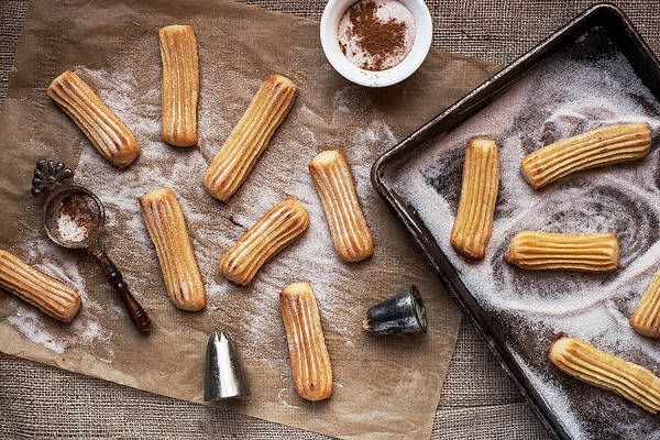 Messy Photograph - Churros With Cinnamon And Sugar by One Girl In The Kitchen