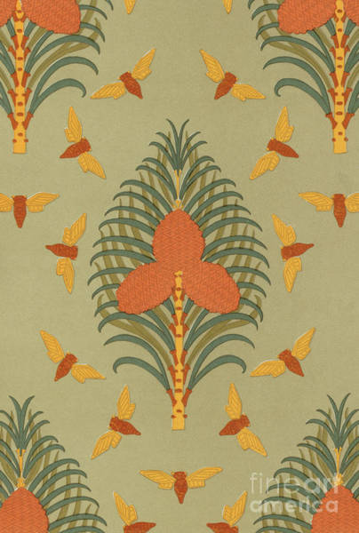 Wall Art - Painting - Cicadas And Pine Vintage Wallpaper Pattern Design by Maurice Pillard Verneuil