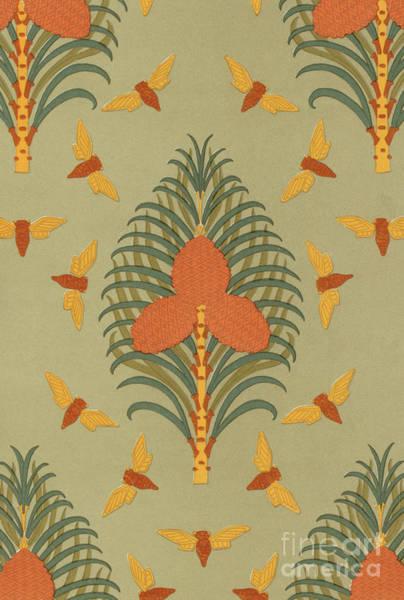 Wall Art - Painting - Cicadas And Pine Vintage Wallpaper Pattern Design by Maurice Pillard Verneuil