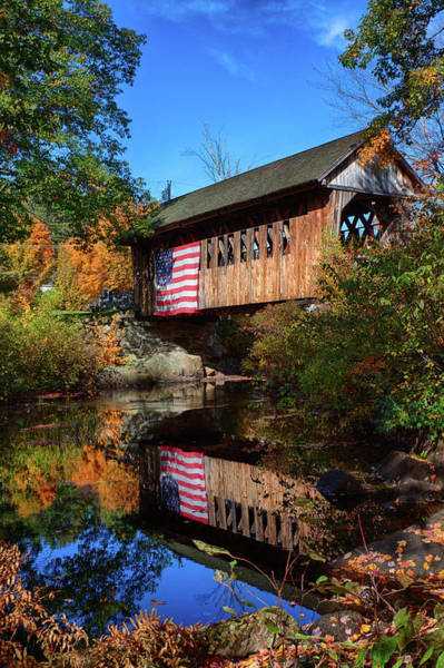 Photograph - Cilleyville Covered Bridge Reflection In Autumn by Jeff Folger