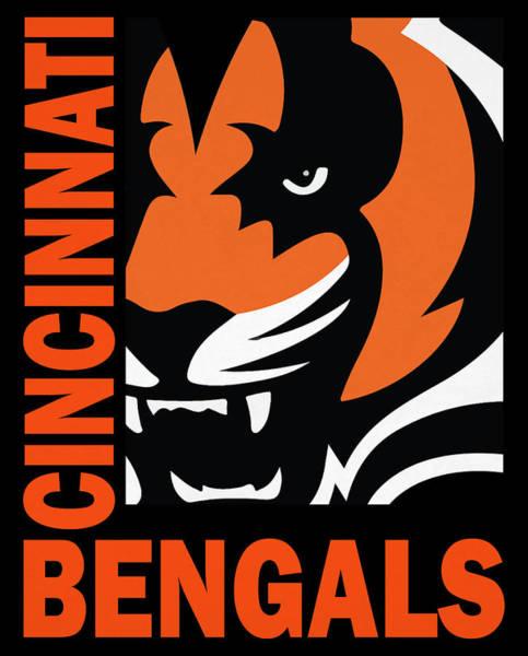 Wall Art - Mixed Media - Cincinnati Bengals Retro Vintage Art by Joe Hamilton