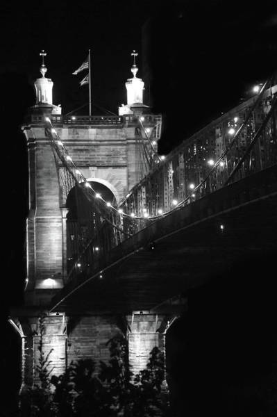 Wall Art - Photograph - Cincinnati Bridge In Black And White by Art Spectrum