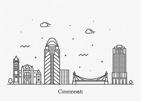 Wall Art - Digital Art - Cincinnati Cityscape Travel Poster by Inspirowl Design