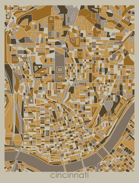 Wall Art - Digital Art - Cincinnati Map Retro 4 by Bekim M