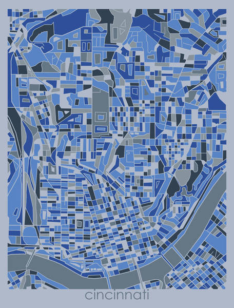 Wall Art - Digital Art - Cincinnati Map Retro 5 by Bekim M